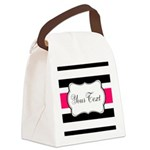 Personalizable Hot Pink Black Striped Canvas Lunch