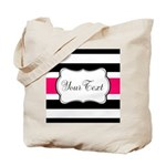 Personalizable Hot Pink Black Striped Tote Bag