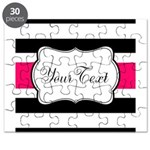 Personalizable Hot Pink Black Striped Puzzle