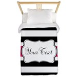 Personalizable Hot Pink Black Striped Twin Duvet