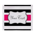 Personalizable Hot Pink Black Striped Throw Blanke