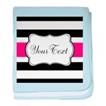 Personalizable Hot Pink Black Striped baby blanket
