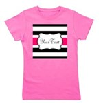 Personalizable Hot Pink Black Striped Girl's Tee