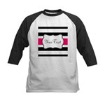 Personalizable Hot Pink Black Striped Baseball Jer