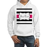 Personalizable Hot Pink Black Striped Hoodie