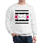 Personalizable Hot Pink Black Striped Sweatshirt