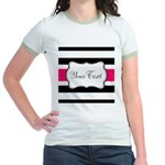 Personalizable Hot Pink Black Striped T-Shirt