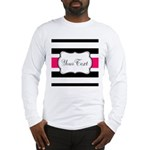 Personalizable Hot Pink Black Striped Long Sleeve