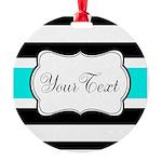 Personalizable Teal Black White Stripes Ornament