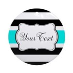 Personalizable Teal Black White Stripes Round Orna