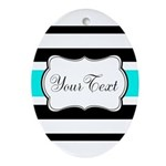 Personalizable Teal Black White Stripes Oval Ornam