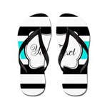 Personalizable Teal Black White Stripes Flip Flops