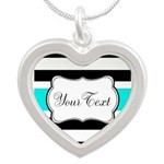 Personalizable Teal Black White Stripes Necklaces
