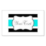 Personalizable Teal Black White Stripes Sticker