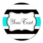 Personalizable Teal Black White Stripes Round Car