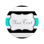 Personalizable Teal Black White Stripes Button