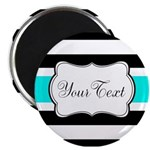 Personalizable Teal Black White Stripes Magnets