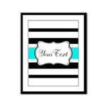 Personalizable Teal Black White Stripes Framed Pan