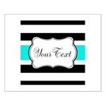 Personalizable Teal Black White Stripes Posters