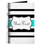 Personalizable Teal Black White Stripes Journal