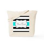 Personalizable Teal Black White Stripes Tote Bag