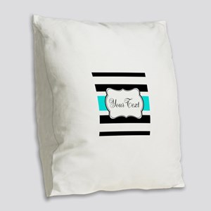 Personalizable Teal Black White Stripes Burlap Thr