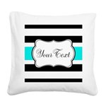 Personalizable Teal Black White Stripes Square Can