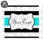 Personalizable Teal Black White Stripes Puzzle