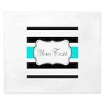 Personalizable Teal Black White Stripes King Duvet