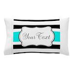 Personalizable Teal Black White Stripes Pillow Cas