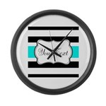 Personalizable Teal Black White Stripes Large Wall