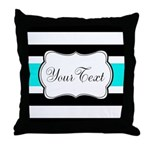 Personalizable Teal Black White Stripes Throw Pill