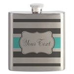 Personalizable Teal Black White Stripes Flask