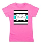 Personalizable Teal Black White Stripes Girl's Tee