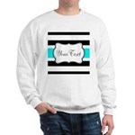Personalizable Teal Black White Stripes Sweatshirt