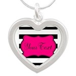 Personalizable Pink Black Script Necklaces
