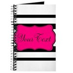 Personalizable Pink Black Script Journal