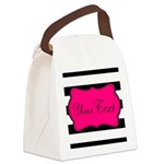 Personalizable Pink Black Script Canvas Lunch Bag