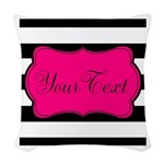 Personalizable Pink Black Script Woven Throw Pillo