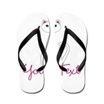 Personalizable White Cat Flip Flops