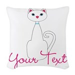 Personalizable White Cat Woven Throw Pillow