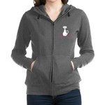 Personalizable White Cat Women's Zip Hoodie