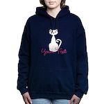 Personalizable White Cat Women's Hooded Sweatshirt