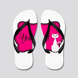 Personalizable White Cat on Hot Pink Flip Flops