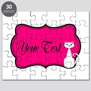 Personalizable White Cat on Hot Pink Puzzle
