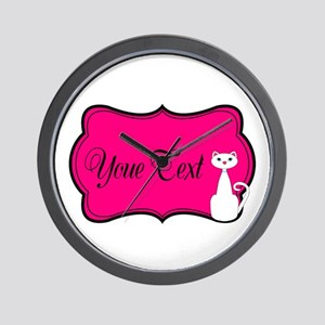 Personalizable White Cat on Hot Pink Wall Clock