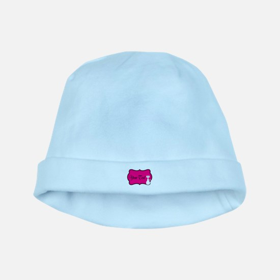 Personalizable White Cat on Hot Pink baby hat