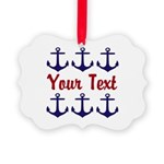 Personalizable Red and Blue Anchors Ornament