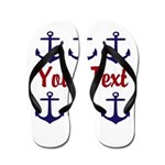 Personalizable Red and Blue Anchors Flip Flops