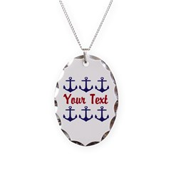 Personalizable Red and Blue Anchors Necklace